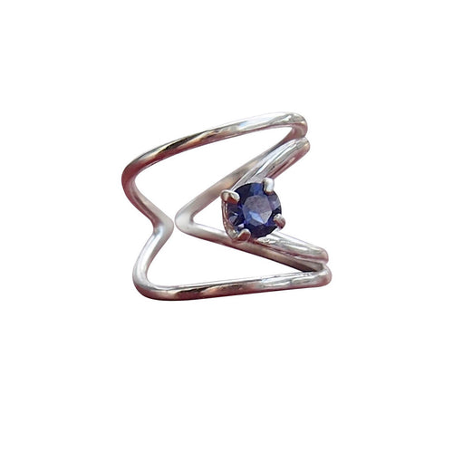 Sterling Silver Rhombus Ring With Blue Iolite ,[product vendor],JewelStreet