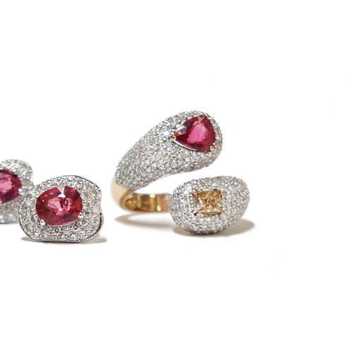 Intertwined Rubellite & Fancy Diamond Ring