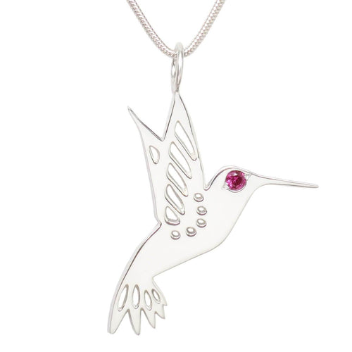 Sterling Silver Ruby Hummingbird Necklace II
