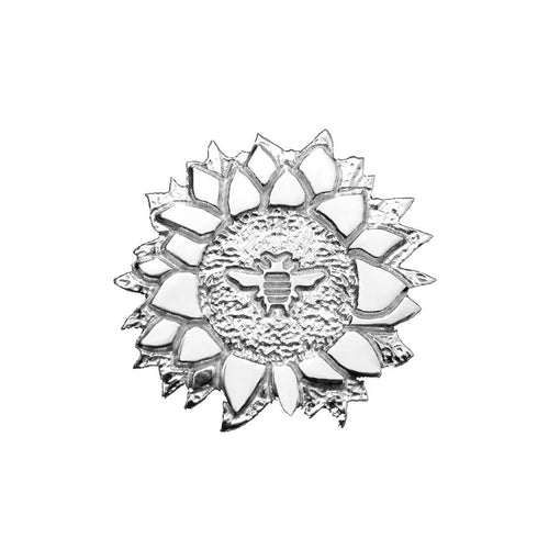 Sterling Silver Sunflower Bee Lapel Pin Brooch