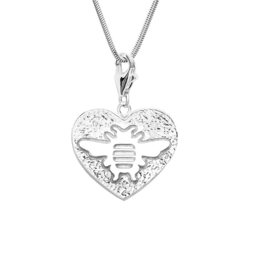 Sterling Silver Heart Bee Charm Necklace
