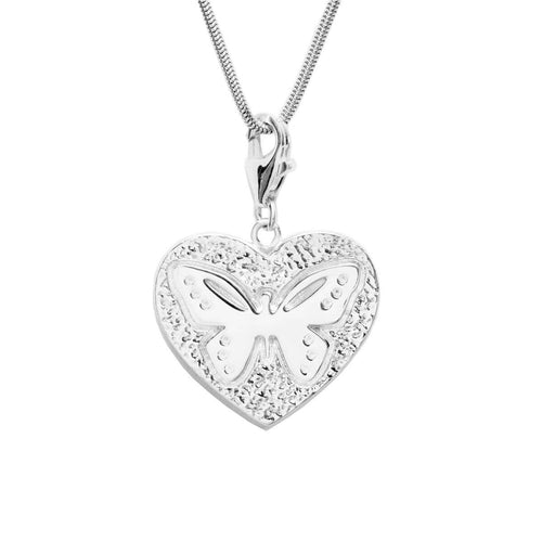 Sterling Silver Heart Butterfly Charm Necklace