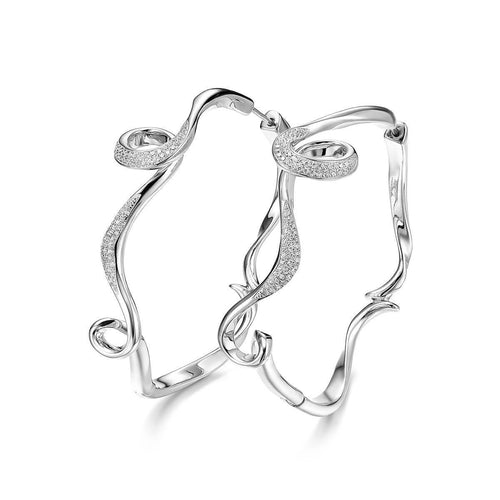 Rhodium Plated Serenity Large Hoop Earrings