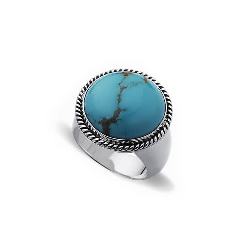 Signet Coin Turquoise Ring