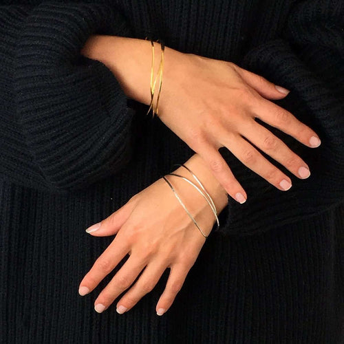 Wave Vermeil Single Bangle-FRAN REGAN JEWELLERY-JewelStreet US