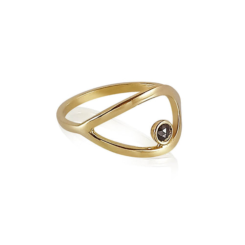 18kt Yellow Gold Elegant Silver Linings Black Diamond Ring ,[product vendor],JewelStreet