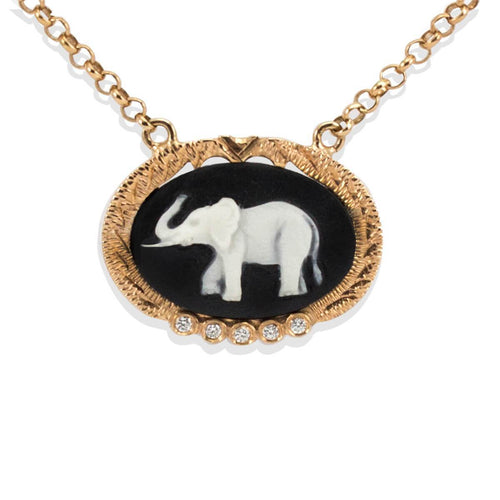Rose Gold Plated Silver Elephant Cameo Necklace ,[product vendor],JewelStreet