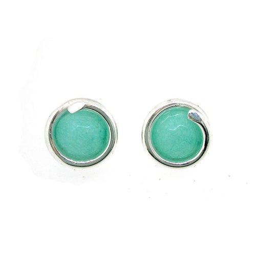 Silver Aqua Jade Stud Earrings-Maree London-JewelStreet US