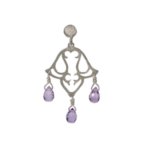Sterling Silver Small Dangling Earrings With Amethyst I ,[product vendor],JewelStreet