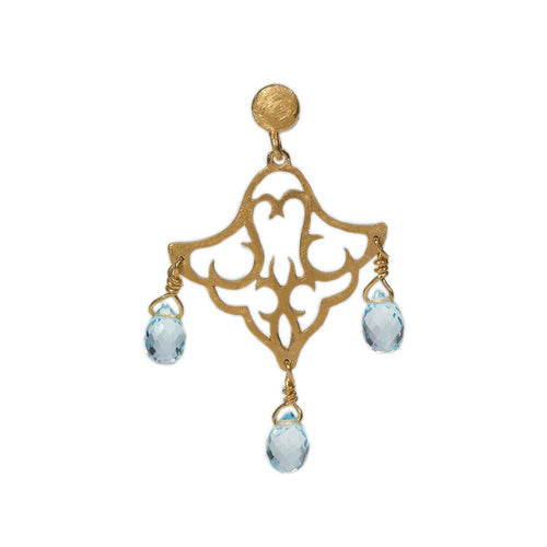 Yellow Gold Plated Small Dangling Earrings With Blue Topaz ,[product vendor],JewelStreet