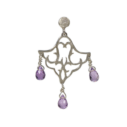 Sterling Silver Small Dangling Earrings With Amethyst II ,[product vendor],JewelStreet