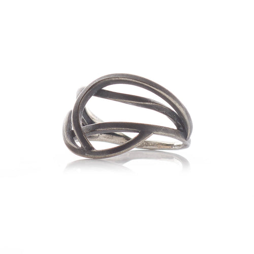 Oxidised Sterling Silver Small Tangled Ring ,[product vendor],JewelStreet