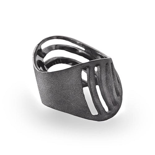 Black Rhodium Plated Cut-Out Sharch Ring ,[product vendor],JewelStreet