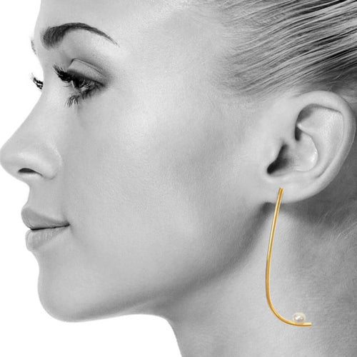 Yellow Gold Plated Pearl Slay Earrings