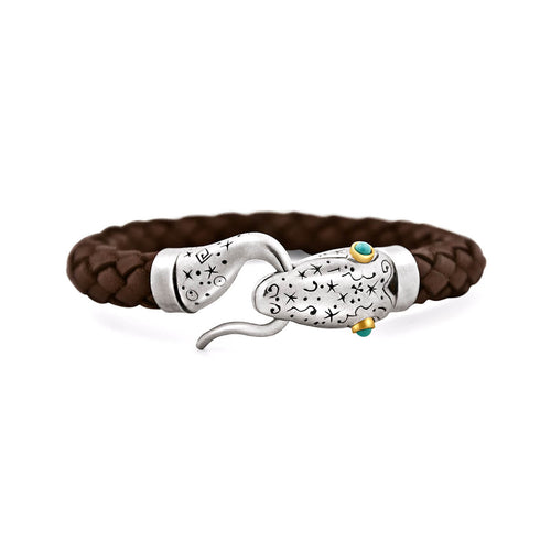 Leather Snake Bracelet With Silver, Gold, & Turquoise ,[product vendor],JewelStreet