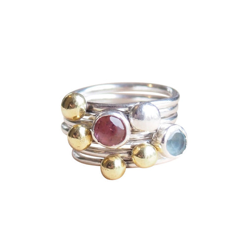 Sterling Silver & Brass Stackable Ring Set ,[product vendor],JewelStreet