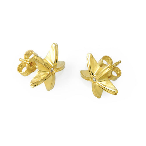 14kt Yellow Gold Star Studs With Diamond ,[product vendor],JewelStreet