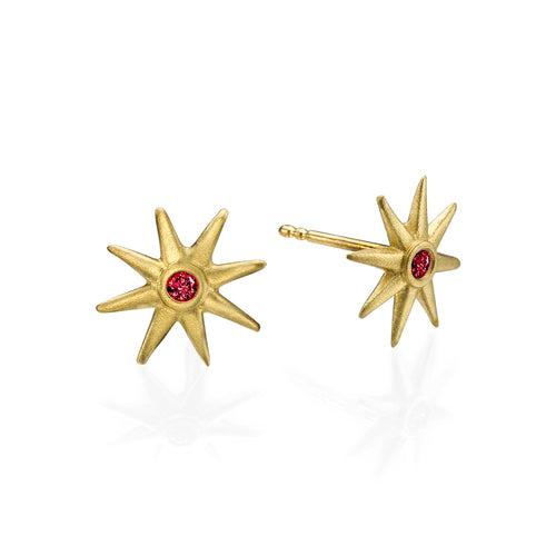 Star Earrings With Red Spinel