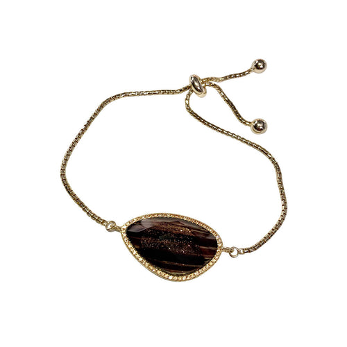 Yellow Gold Plated Abstract Halo Bracelet With Black Glass Stone ,[product vendor],JewelStreet