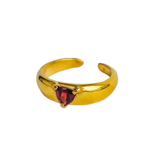 24kt Gold Plated Sterling Silver Statement Ring With Garnet
