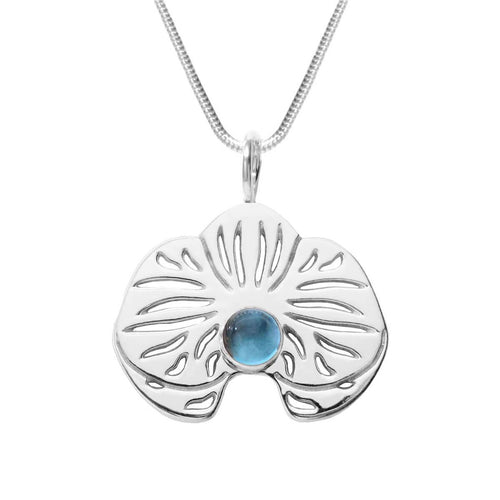 Sterling Silver Blue Topaz Orchid Pendant Necklace