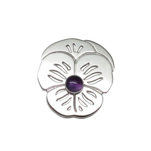 Sterling Silver Suffragette Purple Pansy Lapel Pin Brooch