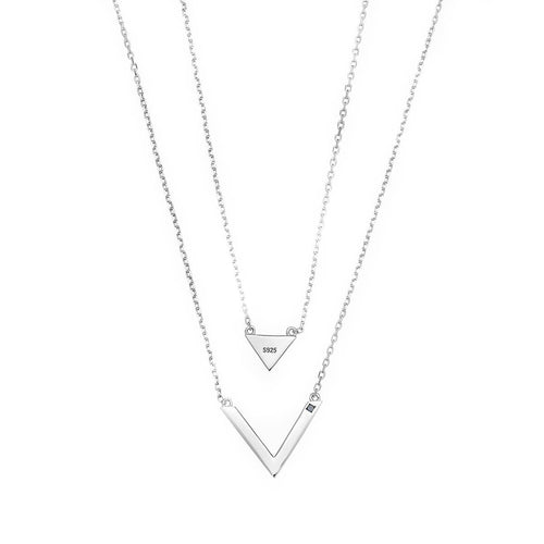 Triangle V White Necklace