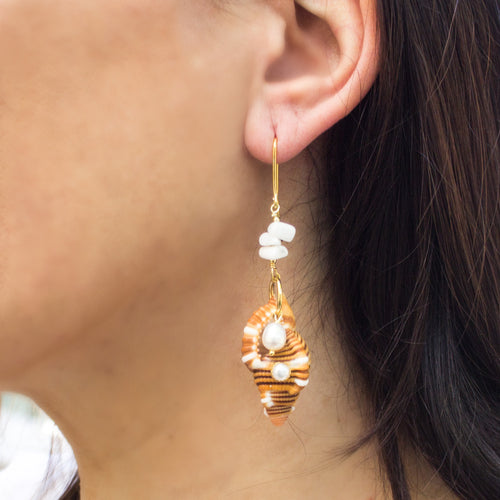 Coral, Pearls & Triton Shell Earrings ,[product vendor],JewelStreet