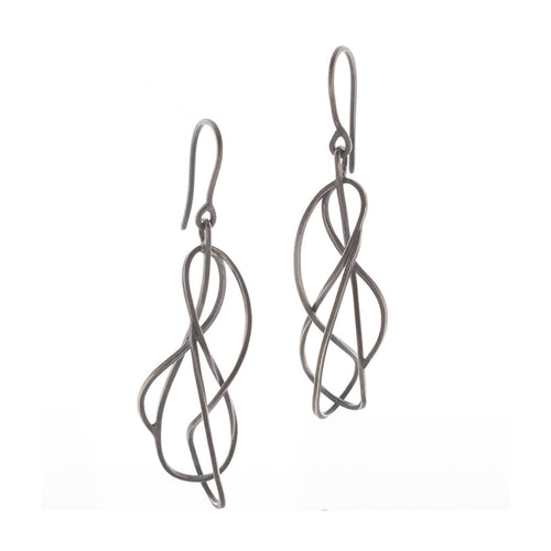 Oxidised Sterling Silver Tangled Earrings ,[product vendor],JewelStreet