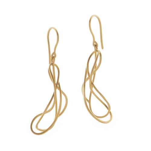Yellow Gold Plated Tangled Earrings ,[product vendor],JewelStreet
