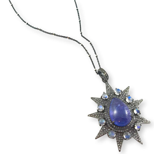 Rhodium Plated Silver Tanzanite & Moonstone Spike Pendant