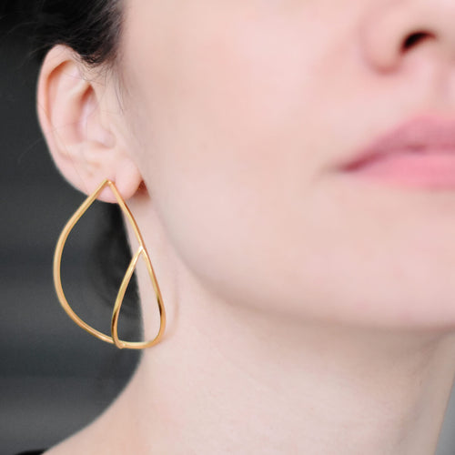 Yellow Gold Plated Sterling Silver Teardrop Earrings ,[product vendor],JewelStreet