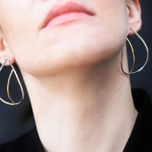 Sterling Silver Teardrop Earrings With Brass Detail ,[product vendor],JewelStreet