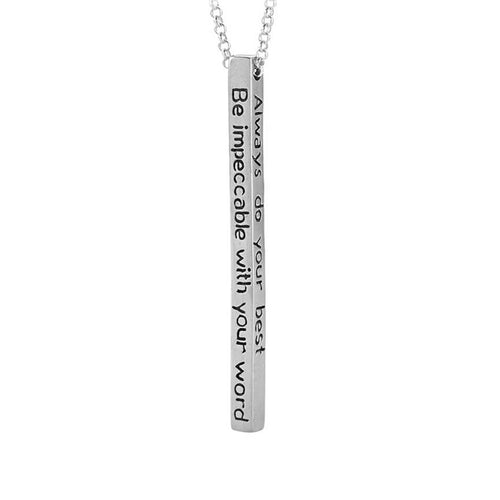 Silver Four Agreements Bar Adjustable Necklace
