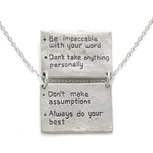 Four Agreements Book Necklace In Silver-House of Alaia-JewelStreet US
