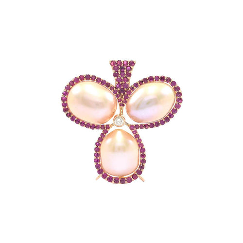 Three Pearl Ruby & Diamond Brooch-Pendant