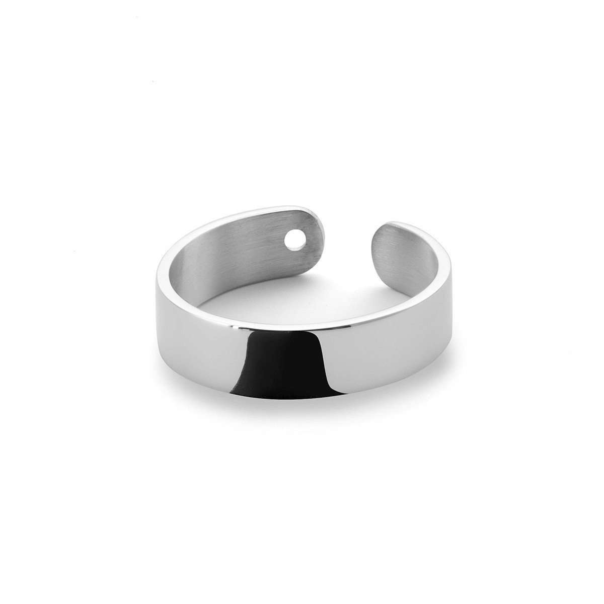 Duo Ring in Shiny White Gold Plated-EKRIA-JewelStreet US