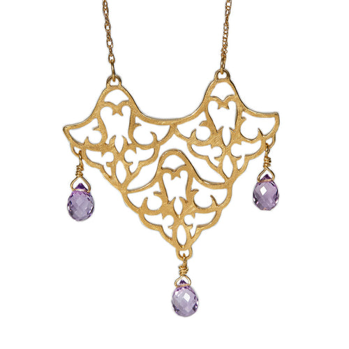 Yellow Gold Plated Trio Pendant Necklace With Amethyst ,[product vendor],JewelStreet