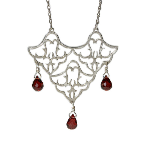 Sterling Silver Trio Pendant Necklace With Red Garnet ,[product vendor],JewelStreet