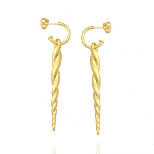 Yellow Gold Plated Unicorn Horn Earrings