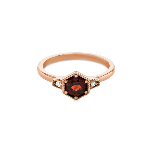 9kt Rose Gold Manhattan Garnet Ring
