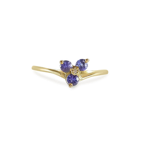 18kt Yellow Gold Violet Flower Ring ,[product vendor],JewelStreet