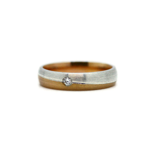 White & Rose Gold Personalised Unisex Wedding Band ,[product vendor],JewelStreet