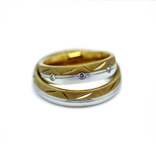 White & Yellow Gold Personalised Unisex Wedding Band Set ,[product vendor],JewelStreet