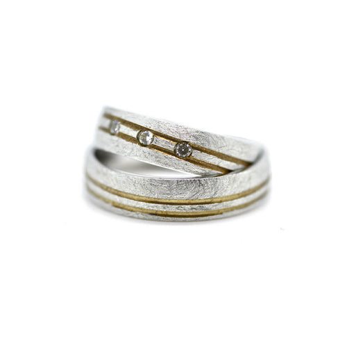 Gold Personalised Unisex Two Tone Wedding Ring ,[product vendor],JewelStreet