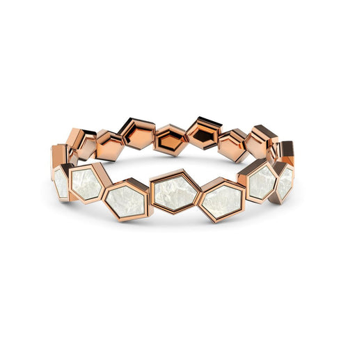 Rose Gold Plated Sterling Silver & Mother Of Pearl Eternity Ring