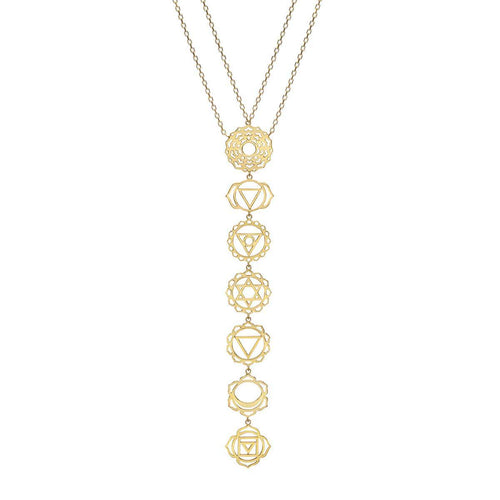 Seven Chakras Necklace In Yellow Gold