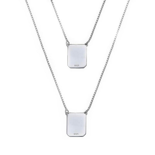 White Sterling Silver Scapular Necklace
