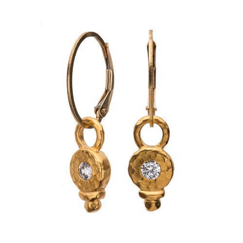 White Sapphire Classic Gold Drop Earring