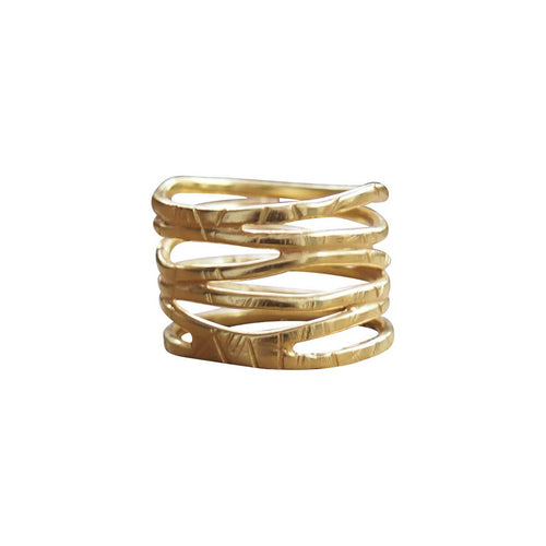 Yellow Gold Plated Wave Ring ,[product vendor],JewelStreet